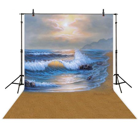 MOHome Polyster Ocean Photography Backgrounds Mermaid 5x7ft Beach Photo Backdrops Holiday Photography Background Studio Props