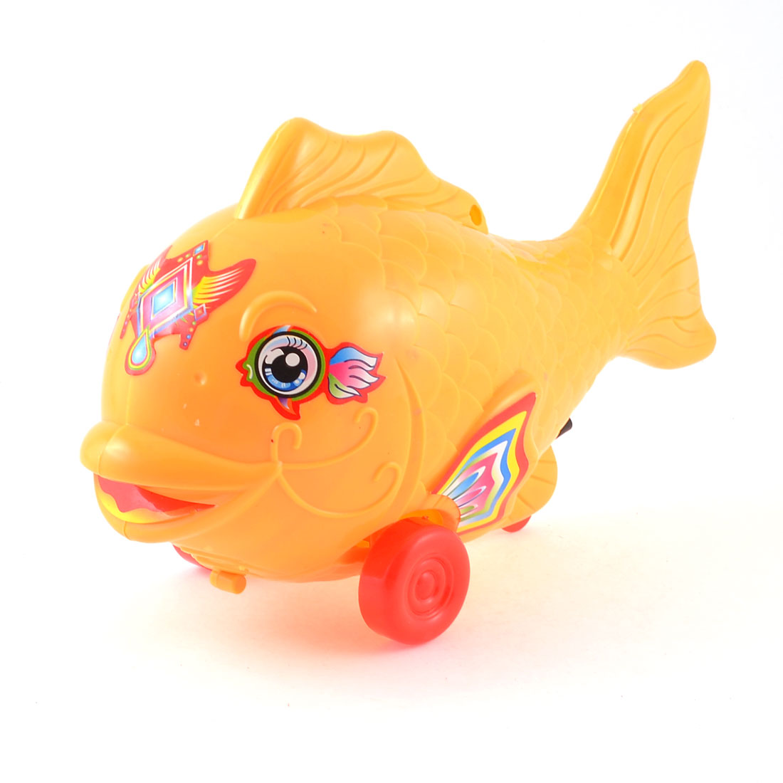 Kids Yellow Red Plastic Two Wheels Pull String Walking Fish Toy ...