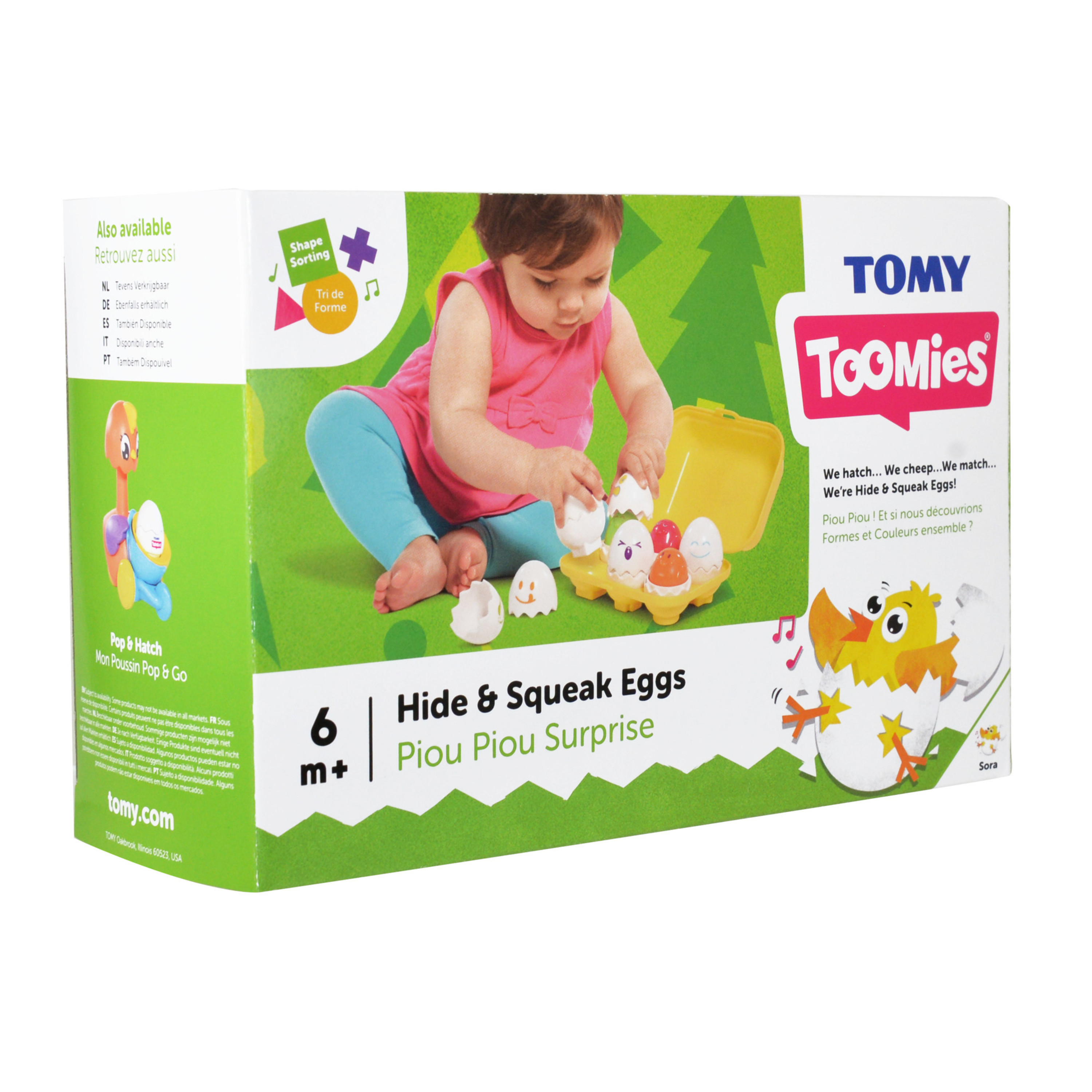 3 Cute Squeaking Egg Characters to Collect Color Matching Tomy Hide /& Squeak Egg Racers Multi Pack Cars Connect to Each Other and All Hide /& Squeak Vehicles Number Counting /& Shape Sorting