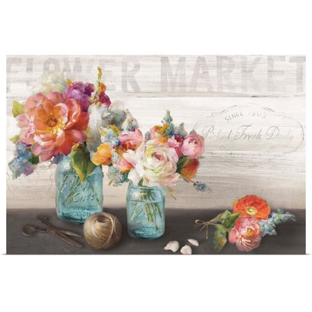 Great BIG Canvas | Rolled Danhui Nai Poster Print entitled French Cottage Bouquet III Cottage Slat Poster
