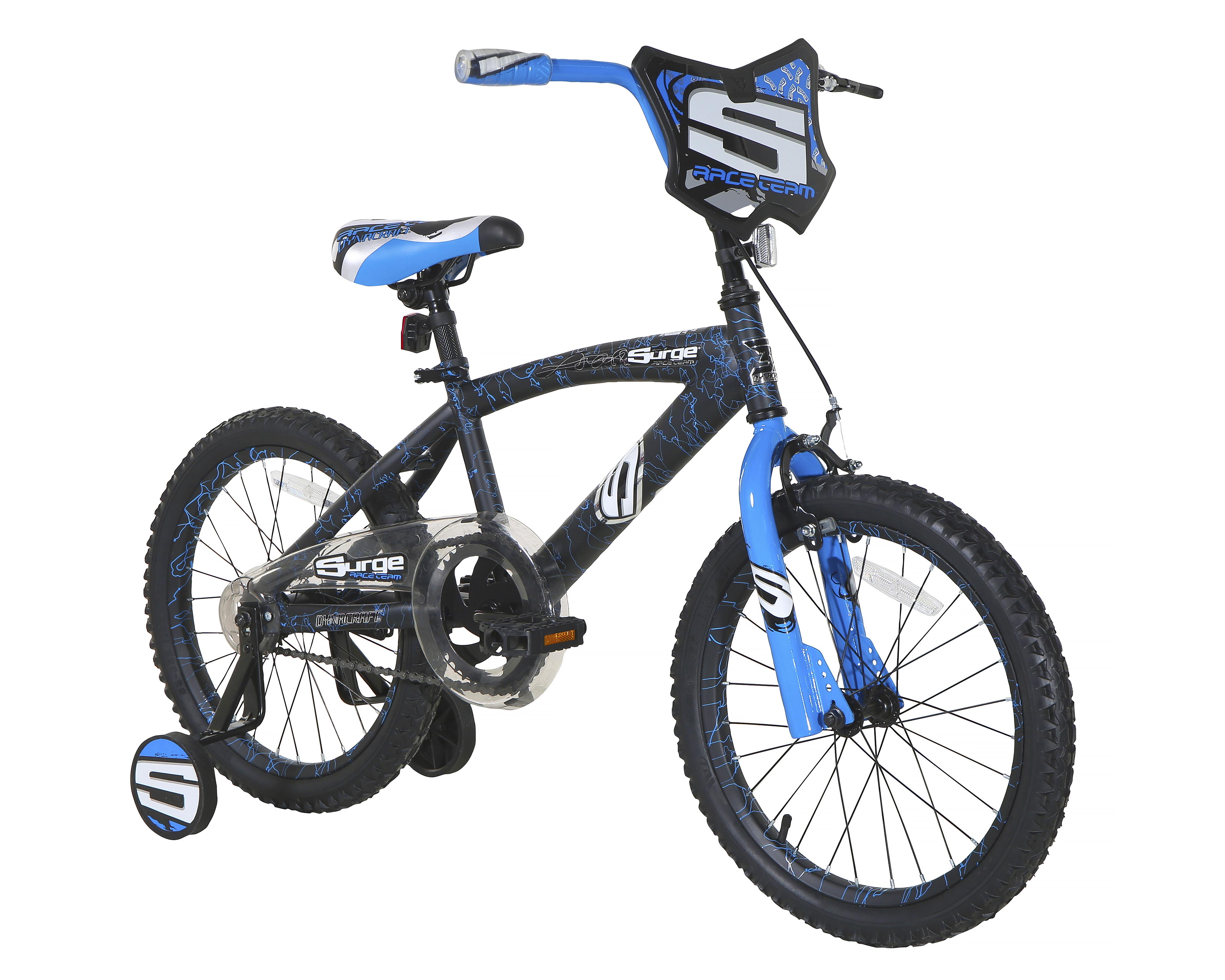 "Black White 12/"" Dynacraft Boys Blast Zone BMX Bike Blue Yellow Training Wheels"