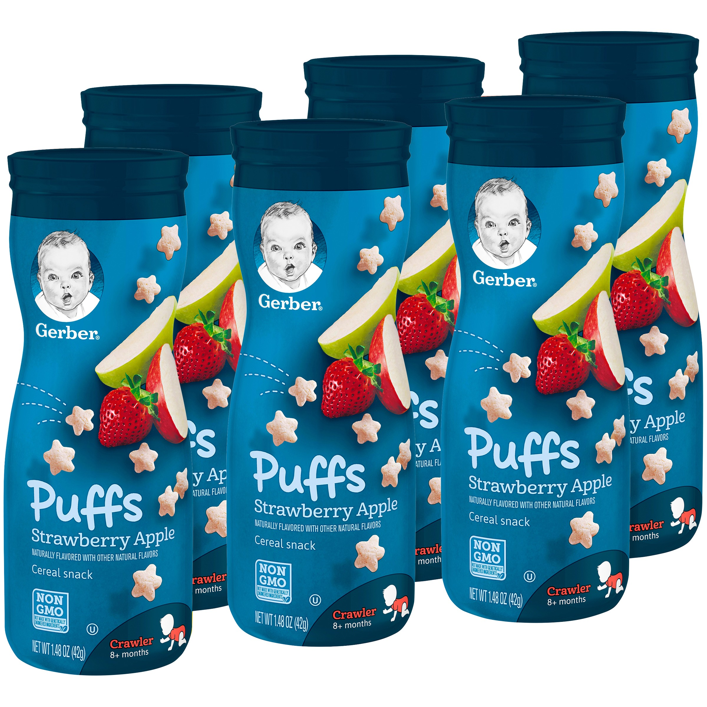 Gerber Graduates Puffs, Strawberry Apple, 1.48 oz (Pack of 6)