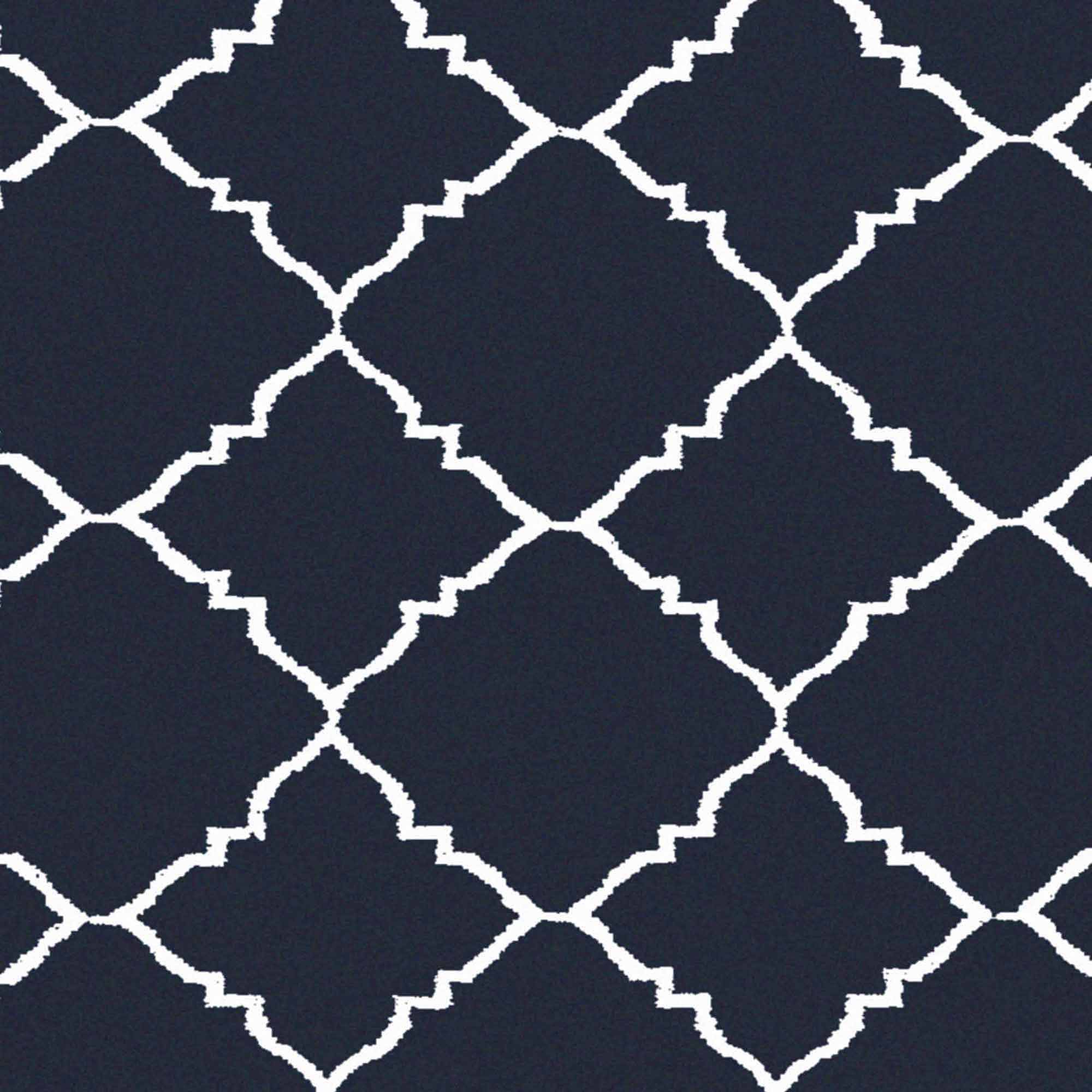 Art of Knot Prichard Hand Woven Gate Scroll Flatweave Wool Area Rug, Navy