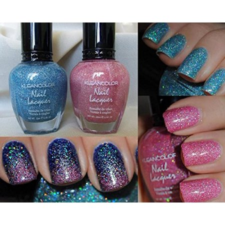 LWS LA Wholesale Store  2 Colors Holo Blue & Pink Kleancolor Nail Polish Holographic Glitter Set - Punk Wholesale