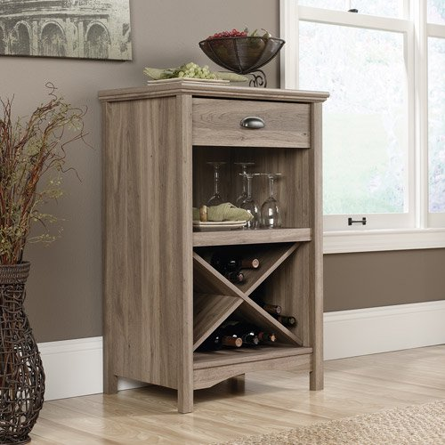 Sauder Harbor View 20 Bottle Wine Cabinet Salt Oak