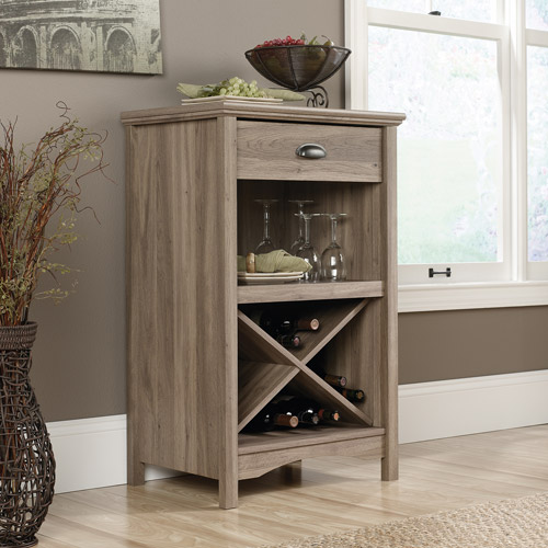 Sauder Harbor View 20-Bottle Wine Cabinet, Salt Oak