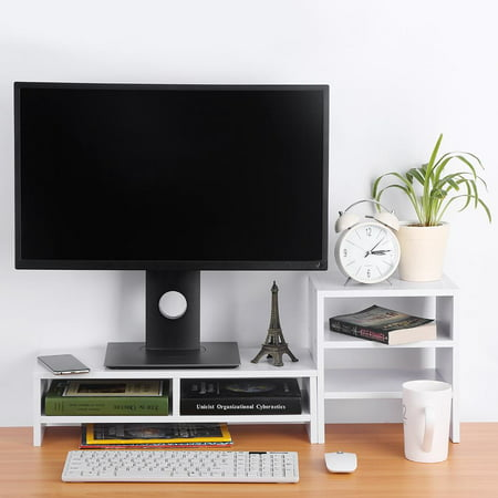 Qiilu Wooden Computer Monitor Stand Riser With Drawers Laptop Tv Desktop Storage Organizer Sit