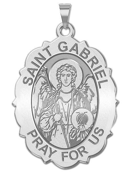 PicturesOnGold.com Saint Michael Scalloped Round Religious Medal 3//4 Inch Size of a Nickel in Solid 14K Yellow Gold