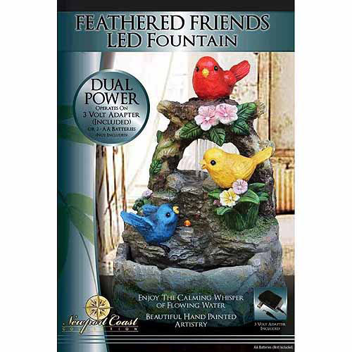 Newport Coast Collection Feathered Friends LED Fountain by