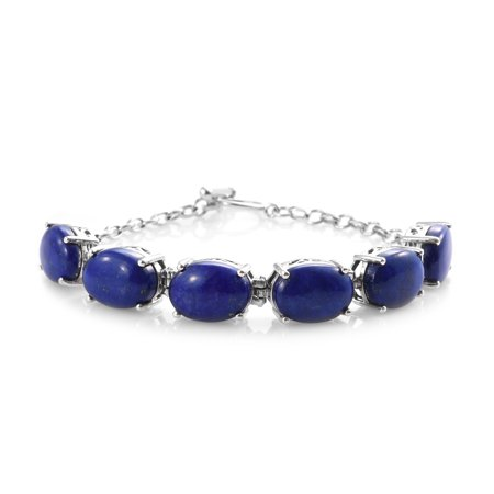 Womens 925 Sterling Silver Platinum Plated Oval Lapis Lazuli Toggle Clasp Bracelet 8