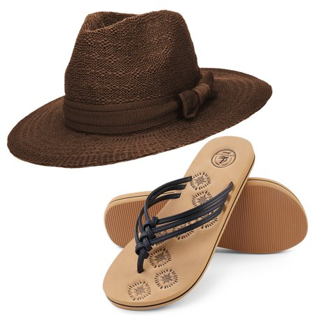 ae3a8cd576d71 Coco Keys Women s Year Round Floppy Straw Sun Hat and Foam Flip Flop  Sandals Set US