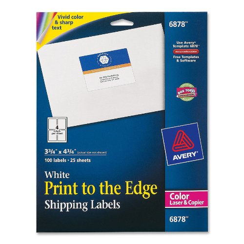 "Avery Mailing Label - 3.75"" Width X 4.75"" Length - 100 / Pack - Rectangle - Laser - White (AVE6878)"