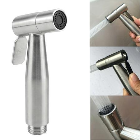 WALFRONT Stainless Steel Toilet Bidet Sprayer Handheld Bathroom Shower Water Spray Head Women Diaper Sprayer Attachment