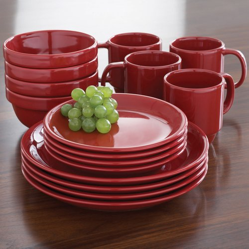 Mainstays 16pc Stackable Red Dinnerware Set & Mainstays 16pc Stackable Red Dinnerware Set - Walmart.com