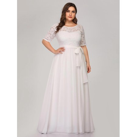 sold worldwide select for best unequal in performance Ever-Pretty Womens Plus Size Lace Half Sleeve Long Evening Cocktail Party  Dresses for Women 07624 White US22