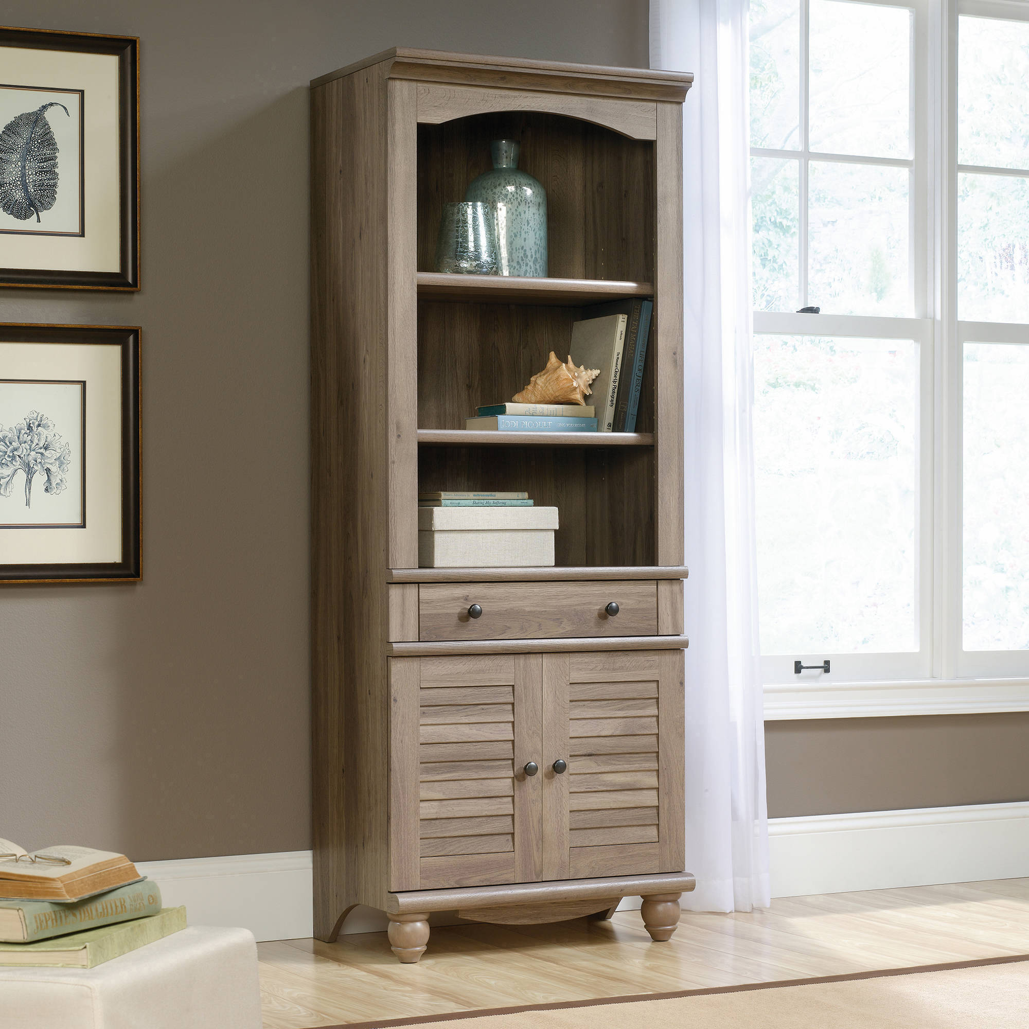 Sauder Harbor View Library with Doors, Multiple Finishes