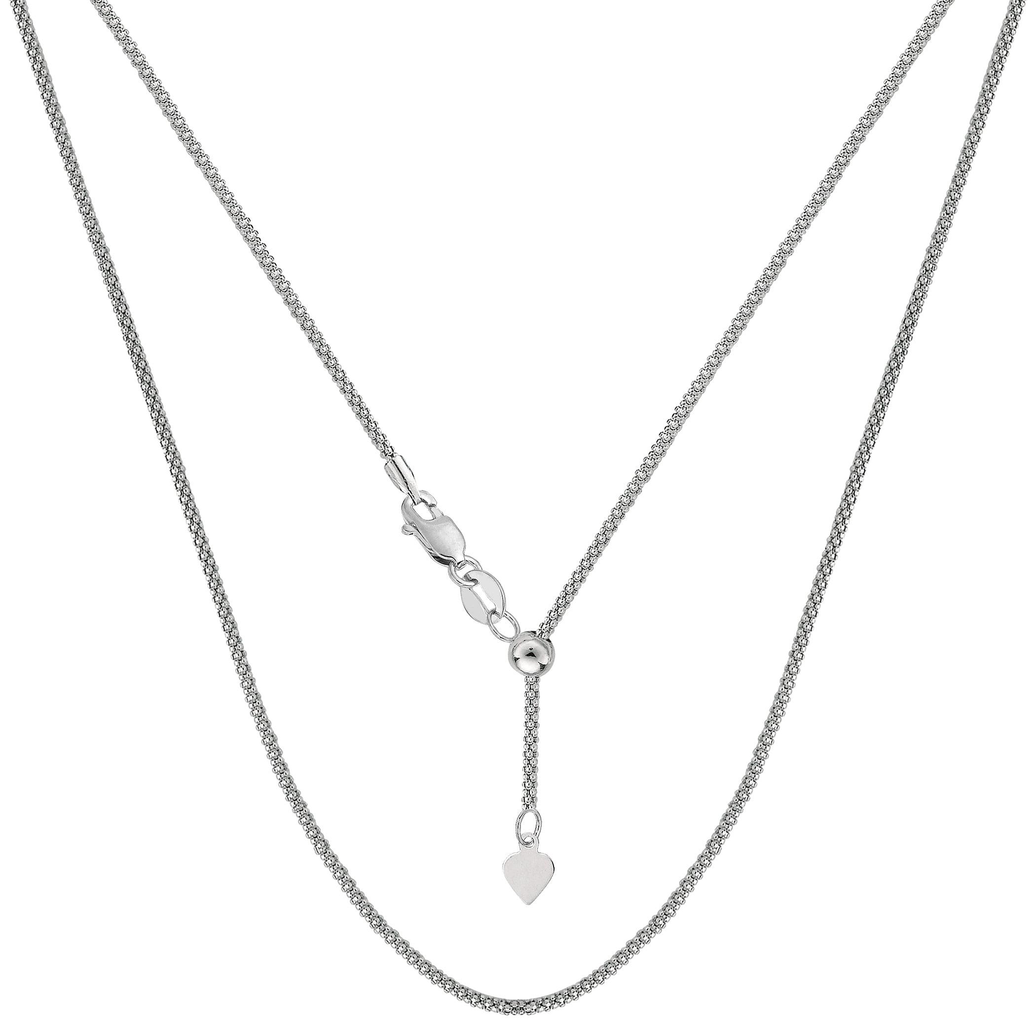 "JewelryAffairs 14k White Gold Adjustable Popcorn Link Chain Necklace, 1.3mm, 22"" by JewelryAffairs"