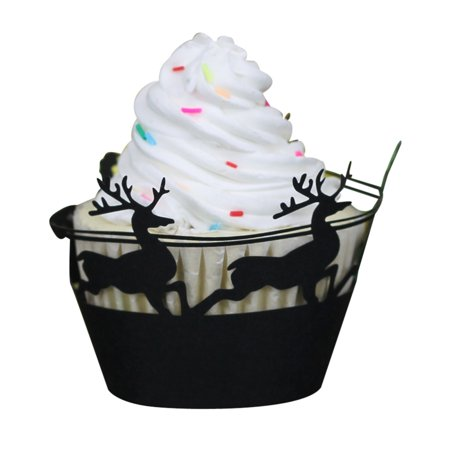Christmas Hollow Lace Cup Muffin Cake Paper Case Wraps Cupcake Wrapper Black - Purple Orange And Black Halloween Cake
