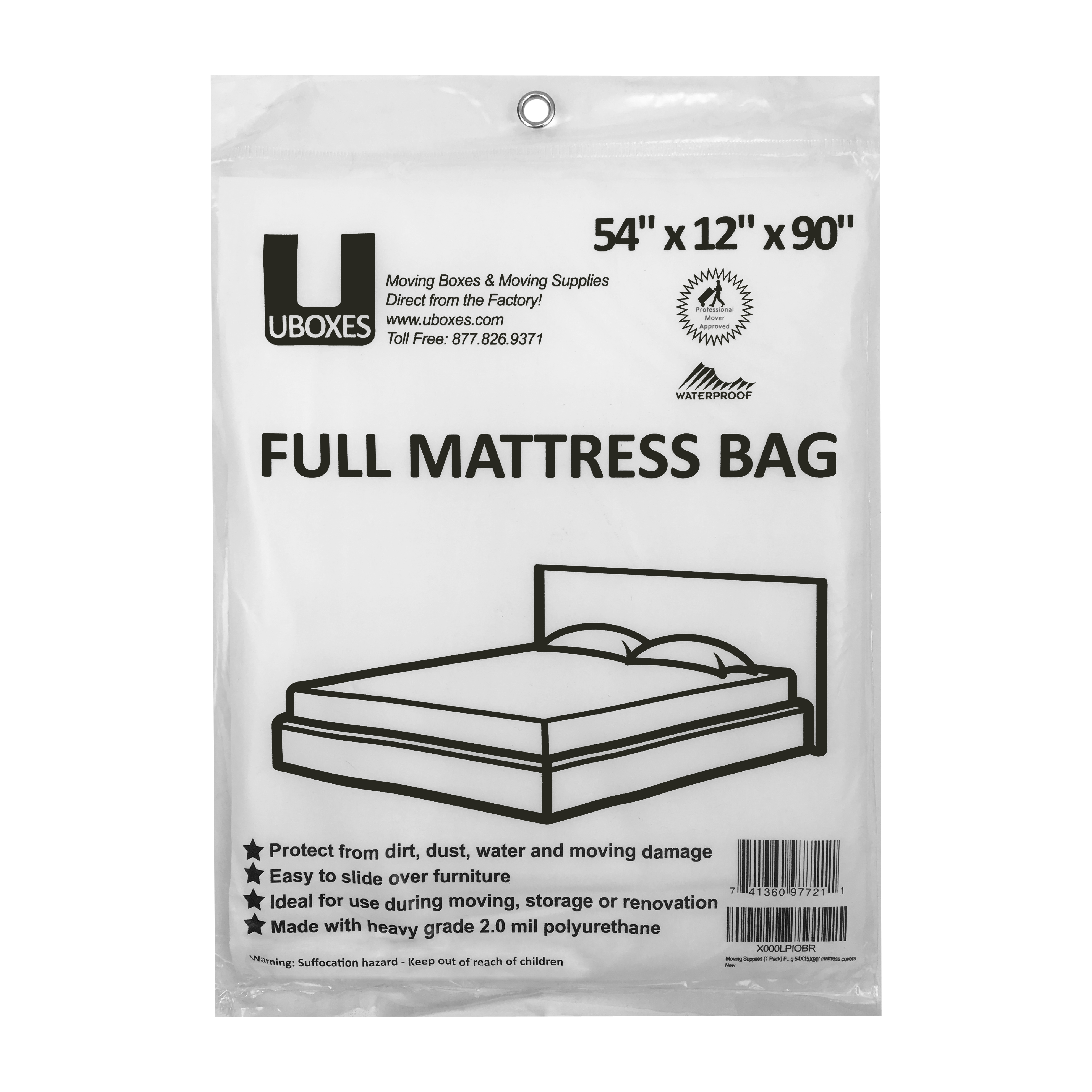 Uboxes Full Mattress Poly Covers, 54 x 12 x 90 in, 18 Pack