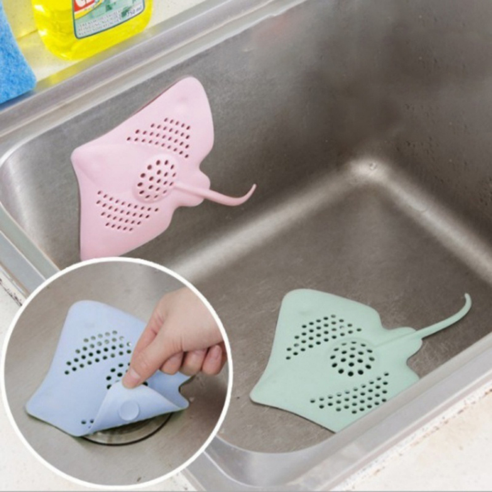 Heepo Bathtub Stingray Fish Shape Floor Drain Stopper Cover Bathroom Kitchen Tools