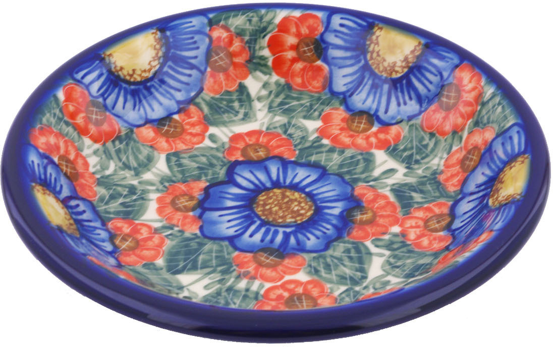 Polish Pottery 9-inch Pasta Bowl (Flowers In Bloom Theme) Signature UNIKAT Hand Painted in Boleslawiec, Poland... by Ceramika Bona