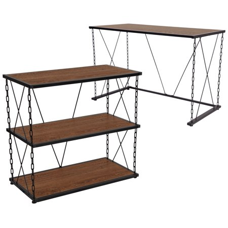 Incredible Vernon Hills Collection Flash Furniture Antique Wood Grain Finish Computer Desk And Two Shelf Bookshelf With Chain Accent Metal Frame Download Free Architecture Designs Scobabritishbridgeorg