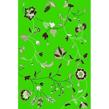Persian Rugs 1006 Lime Green Floral Oriental Area Rug