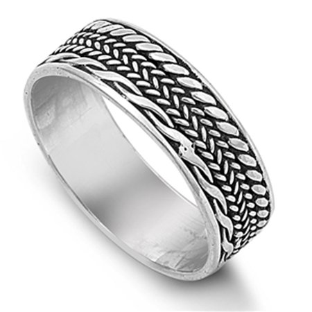 Bali Weave Braided Rope Thumb Ring ( Sizes 8 9 10 11 12 13 ) New .925 Sterling Silver Band Rings by Sac Silver (Size 8)