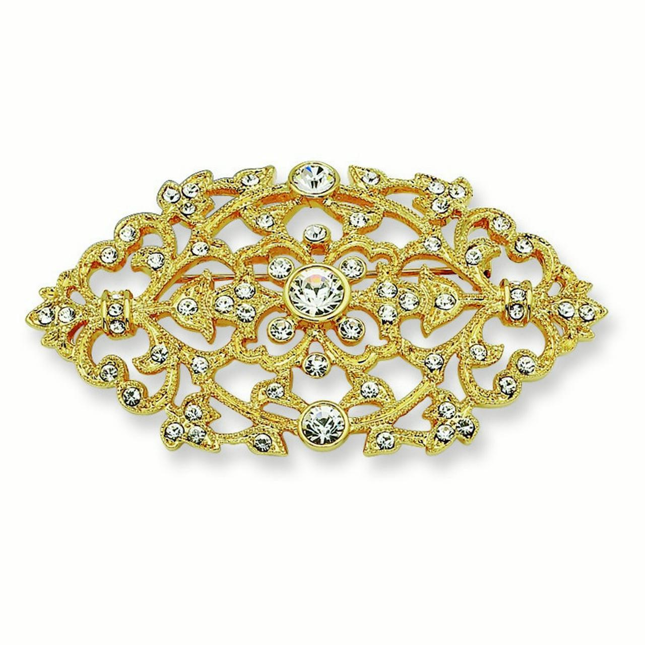Gold-plated Swarovski Element Crystal Floral Brooch Pin
