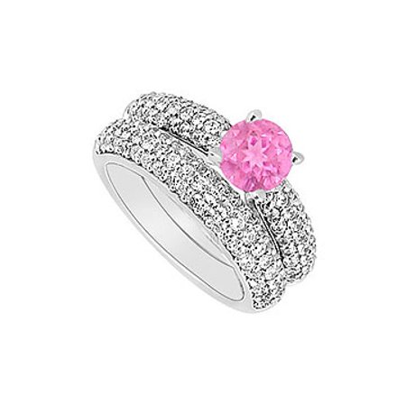 14K White Gold Pink Sapphire and Diamond Engagement Ring with Wedding Band Set 1.80 CT TGW - image 1 de 2