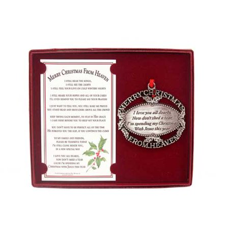 Merry Christmas From Heaven (R) - Pewter Oval - Crochet Christmas Ornaments
