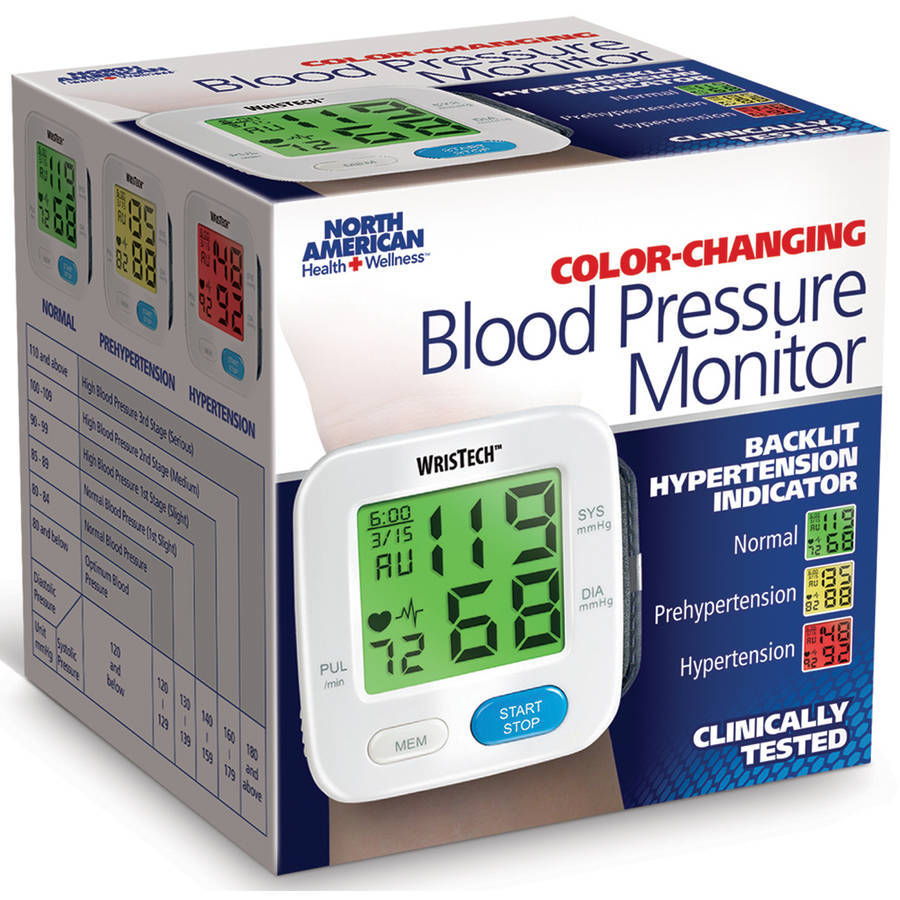 North American Health + Wellness Color-Coded Wrist Blood Pressure Monitor