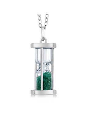 """Sterling Silver Hourglass Pendant With 0.75 Ct Gemstone Dust 18"""" Chain"""