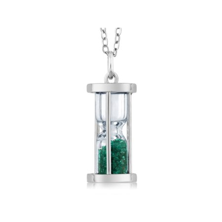 Sterling Silver Hourglass Pendant with 0.75 Ct Emerald Dust & 18