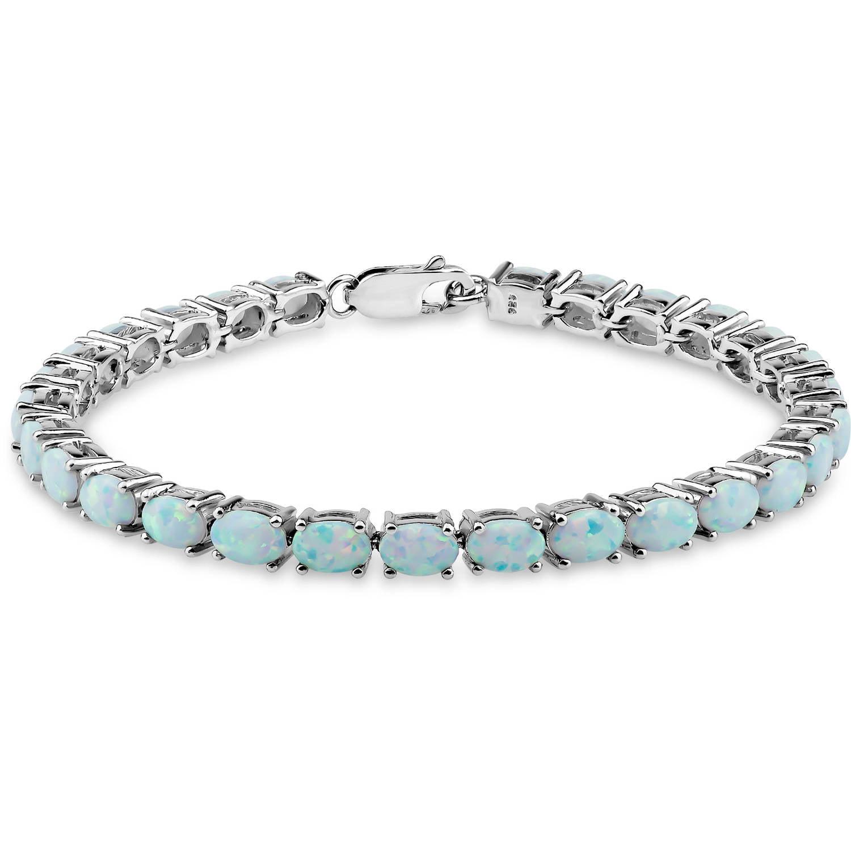 "Created Opal Sterling Silver Oval Tennis Bracelet, 7.5"" by Helen Andrews Inc."