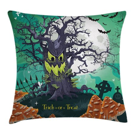 Halloween Decorations Throw Pillow Cushion Cover, Trick or Treat Dead Forest with Spooky Tree Graves Big Kids Cartoon Art, Decorative Square Accent Pillow Case, 16 X 16 Inches, Multi, by Ambesonne