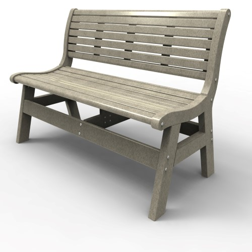 Bench with Back by Malibu Outdoor - Newport, Light Gray 48''