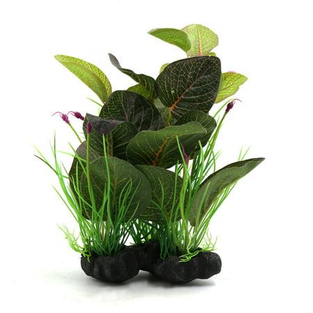 Green Plastic Terrarium Leaves Plant Ornament For Reptiles
