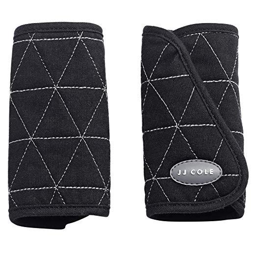 JJ Cole Reversible Strap Covers, Car Seat Belt Strap Covers, Black Triangle Stitch
