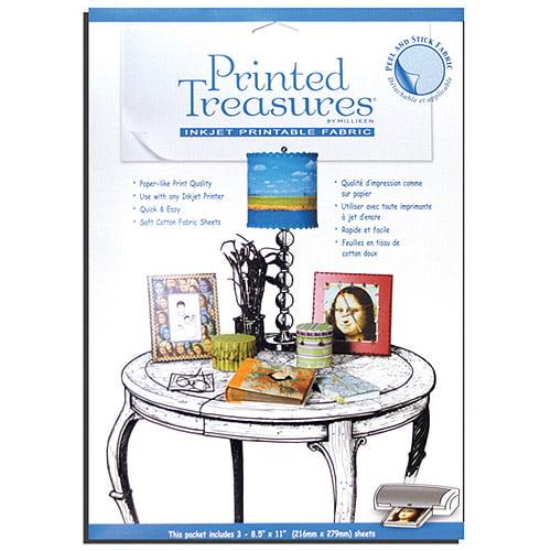 Printed Treasures Peel & Stick Ink Jet Fabric Sheets, White