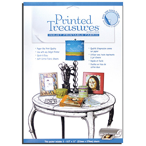 Printed Treasures Peel & Stick Ink Jet Fabric Sheets, White