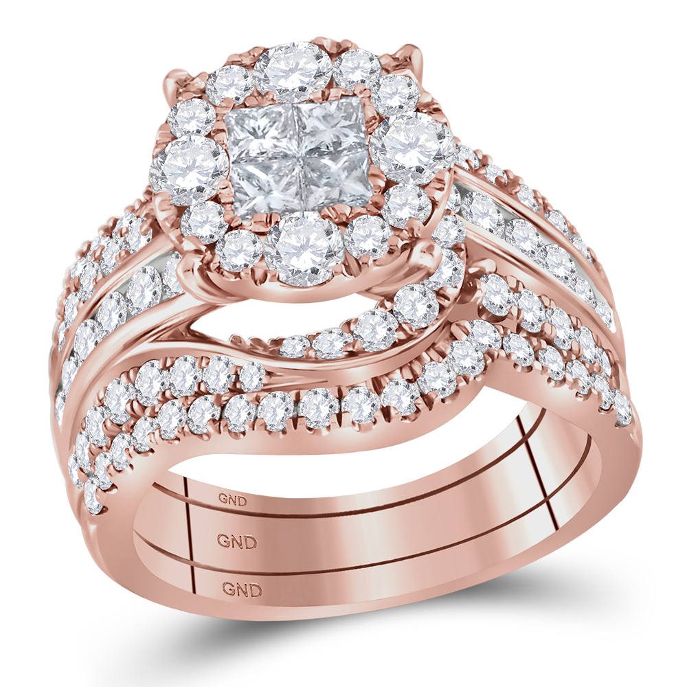 14kt Rose Gold Womens Princess Round Diamond Soleil Bridal Wedding ...