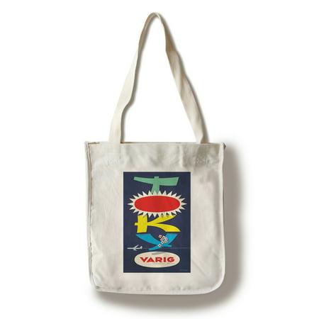 Varig - Tokyo Vintage Poster (artist: Fagundes) Brazil c. 1960 (100% Cotton Tote Bag - Reusable)