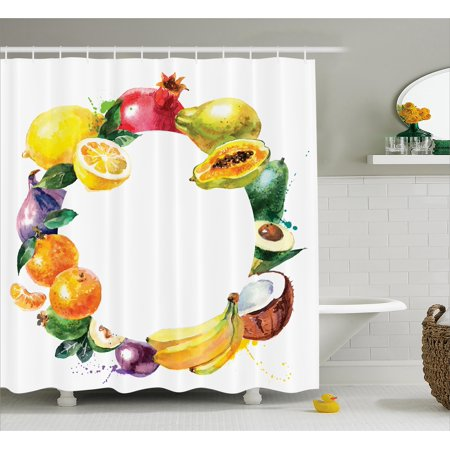 Fruit Shower Curtain Nature Food With Banana Lemon Avocado Orange Coconut Fresh Agriculture Art Print