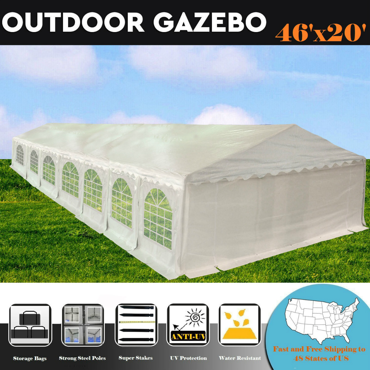 Click here to buy 46'x20' PE White Tent Heavy Duty Party Wedding Canopy Carport Shelter By DELTA Canopies by WPIC.