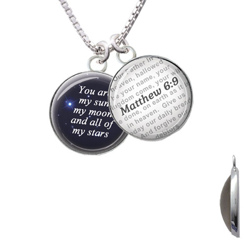 Domed You are My Sun, My Moon - Bible Verse Matthew 6:9 Glass Dome Necklace