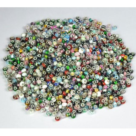 SALE Pack of 25 Assorted Mix Colorful Murano Glass European Beads Charms - Fi...
