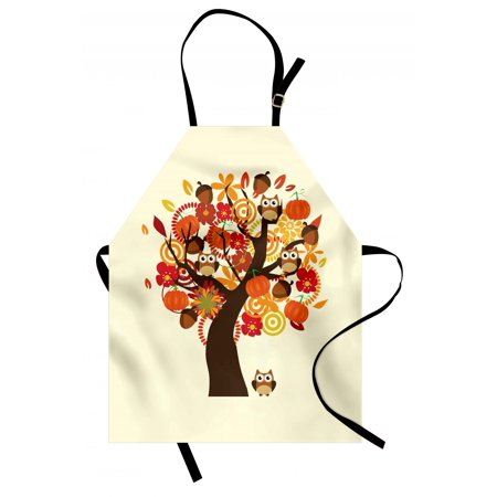 Kids Thanksgiving Apron Abstract Fall Tree with Flowers Acorns Pumpkins and Owls Generous Nature, Unisex Kitchen Bib Apron with Adjustable Neck for Cooking Baking Gardening, Multicolor, by