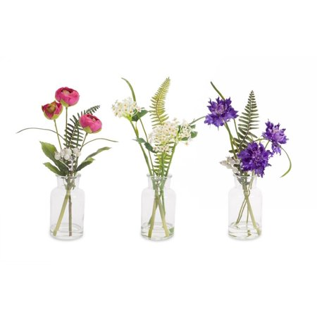 Set of 6 Leafy Green and White Decorative Floral in Glass Vases 12