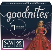 Goodnites Girls Bedtime Bedwetting Underwear, Size S/M (Choose Count)